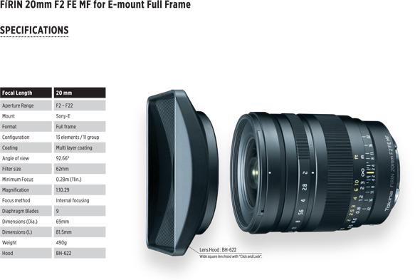 Tokina Firin 20mm f2 MF Sony FE mount | London Camera Exchange