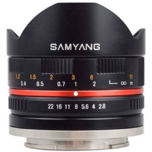 Samyang 8mm f2.8 UMC Fisheye Lens - Black - Fuji Fit