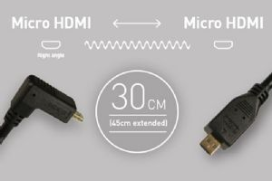Atomos Right Angle Micro HDMI - Micro HDMI Coiled (30-45cm)