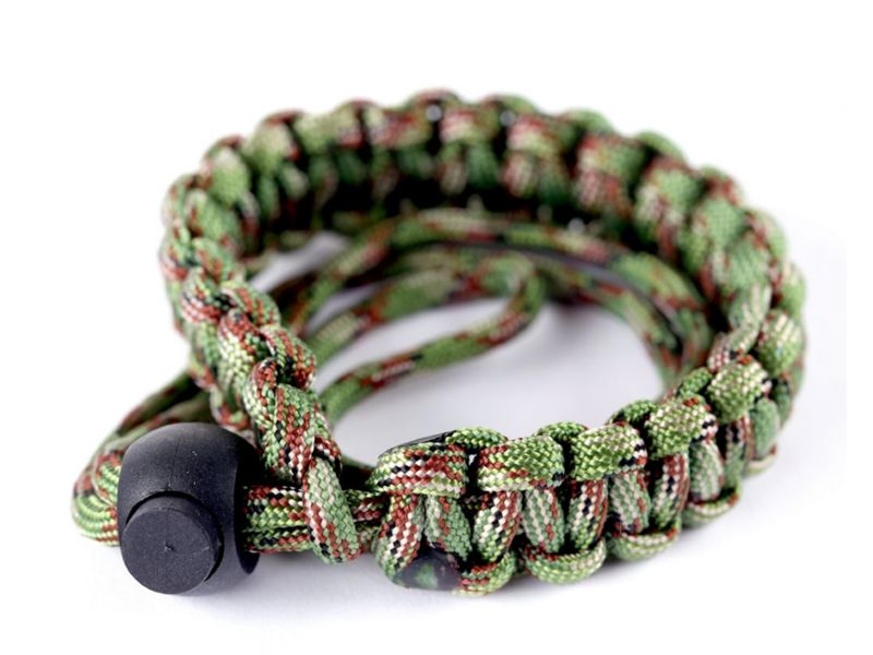 Summit Paracord Woven Wrist Strap in Forest Green Camo