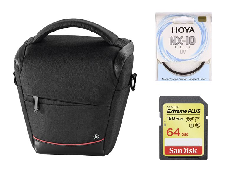 Hama 110 Colt Zoomster Camera Bag (Black), SanDisk Extreme Plus 64GB SDXC Card and Hoya NX-10 67mm UV Bundle